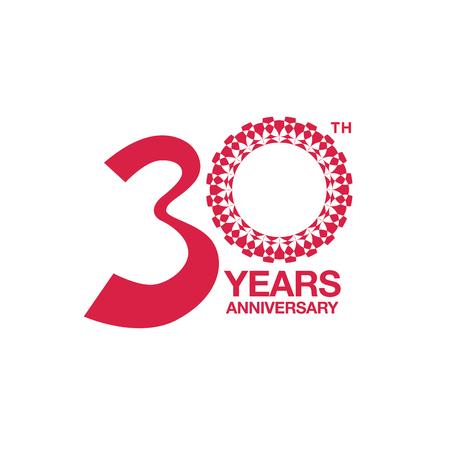30th anniversary emblem. Thirty years anniversary celebration symbol Illustration