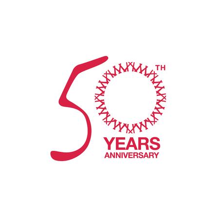 50th anniversary emblem. Fiftieth years anniversary celebration symbol 向量圖像
