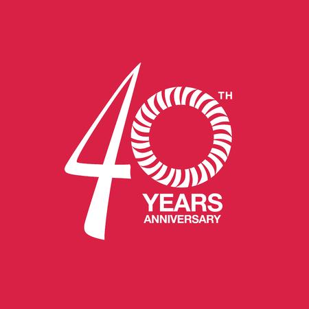 40th anniversary emblem. Fortieth years anniversary celebration symbol