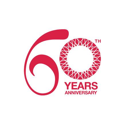 60th anniversary emblem. Sixtieth years anniversary celebration symbol 일러스트