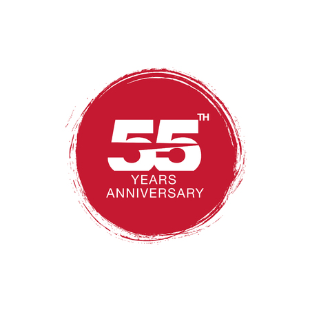 55th anniversary emblem. Fifty five years anniversary celebration symbol Vectores