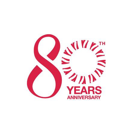 80th anniversary emblem. Eightieth years anniversary celebration symbol