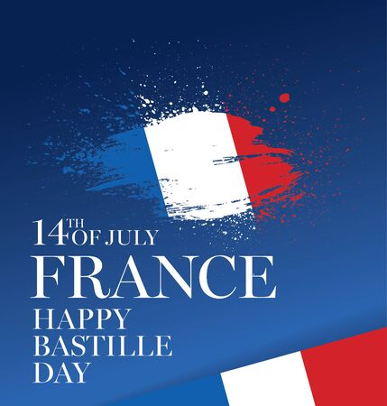 French flag happy bastille day vector illustration