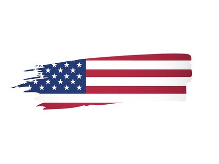 american flag made in a brush stroke background vector illustration 스톡 콘텐츠 - 129932236