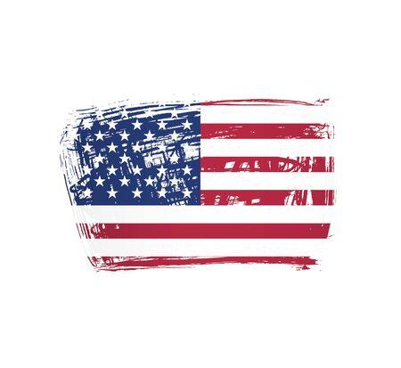 Amerikanische Flagge gemacht in einer Pinselstrichhintergrundvektorillustration Vektorgrafik