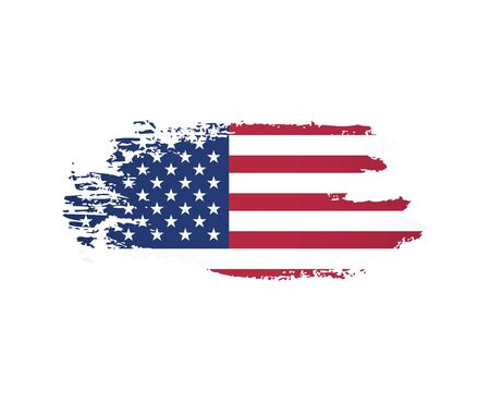 american flag made in a brush stroke background vector illustration