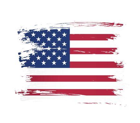 american flag made in a brush stroke background vector illustration Reklamní fotografie - 129932239