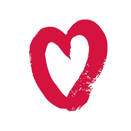 hand-drawn heart shape with a brush vector illustration