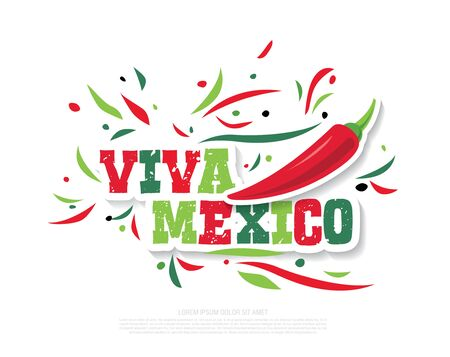 Mexican banner layout design Viva Mexico holiday vector illustration