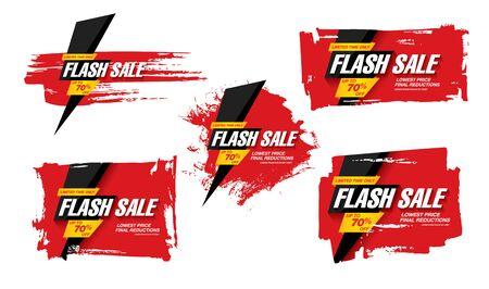 flash sale banners set vector illustration Иллюстрация