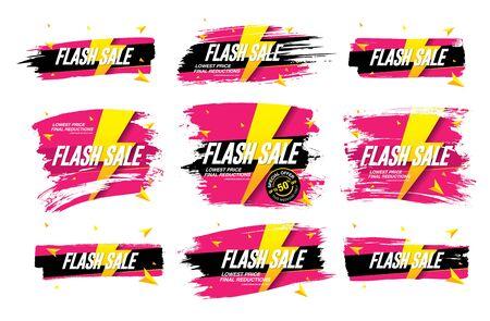flash sale banners set vector illustration Banque d'images - 129655613