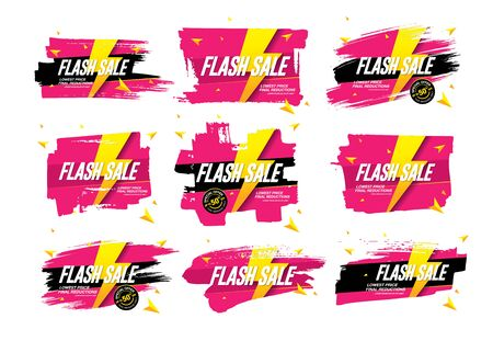 flash sale banners set vector illustration Banque d'images - 129655615