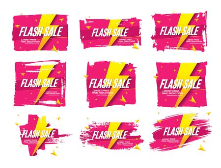 flash sale banners set vector illustration Banque d'images - 129655616