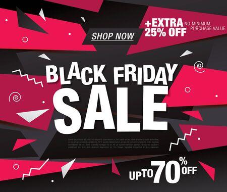 black friday sale banner layout design, vector illustration Stockfoto - 133338761