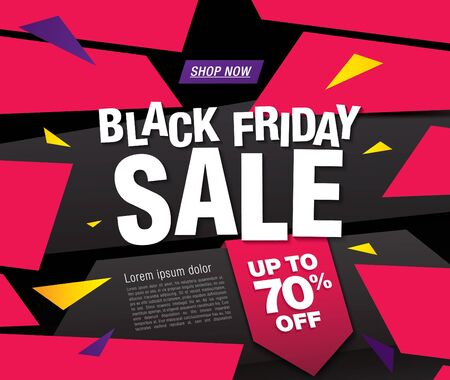 black friday sale banner layout design, vector illustration Stockfoto - 133338762