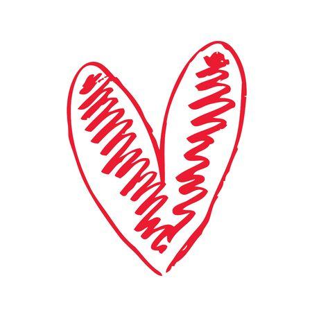 hand-drawn heart symbol, vector illustration