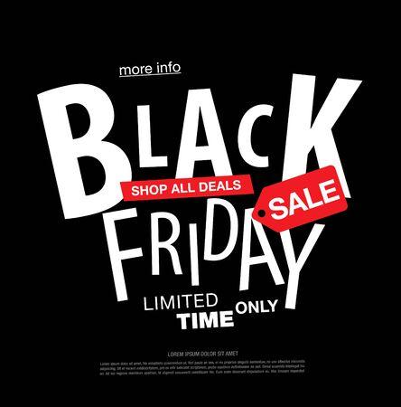 Diseño de diseño de etiqueta de venta de viernes negro, ilustración vectorial
