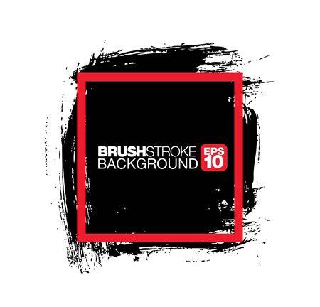 black vector brushstroke frame background, vector illustration