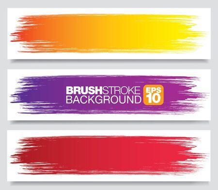 set of color vector brushstroke backgrounds, vector illustration