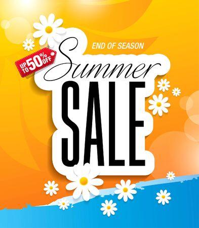summer sale banner layout template design, vector illustration