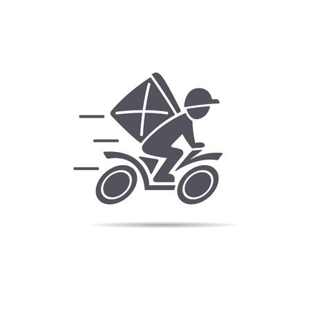 Deliveryman is riding a scooter. Delivery icon, vector illustration