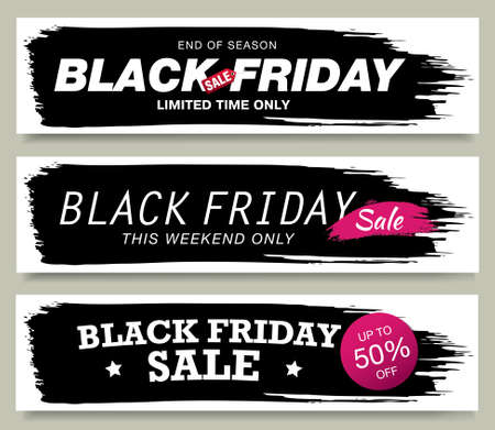 set of black friday sale banners layout design, vector illustration 矢量图像