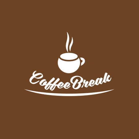 Coffee break logotype design, vector illustration 矢量图像