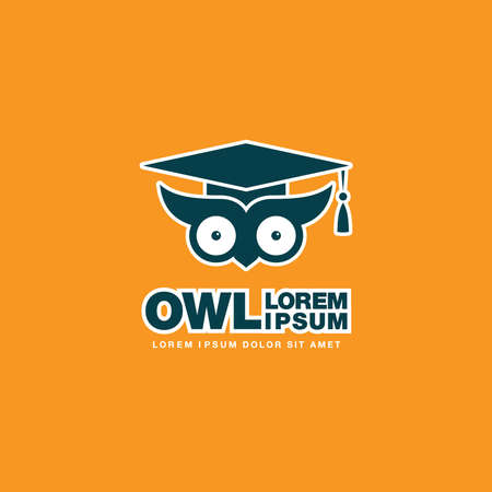smart owl logo design, vector illustration 矢量图像