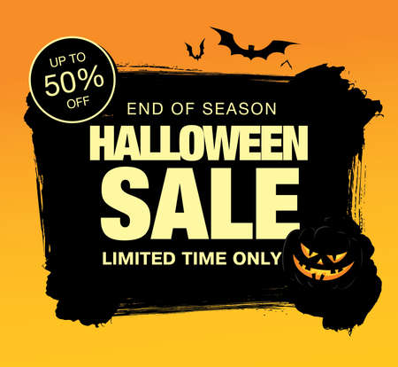 halloween sale banner layout design. vector illustration