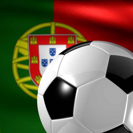 soccer ball on a background the Portuguese flag Stock Photo - 13170071