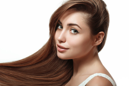 silky hair: young and beautiful girl with long silky hair and perfect makeup Stock Photo