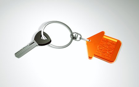 keyring: 3d key with keyring in the form of the house Stock Photo