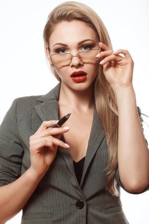 Secretary, Beautiful blonde in a business suit, surprise