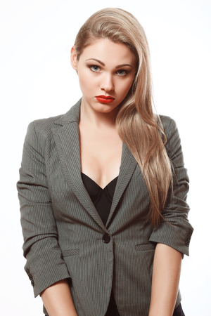 Secretary, Beautiful blonde in a business suit, disconcerted