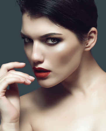 beautiful and sexy brunette with stunning make-up, portrait