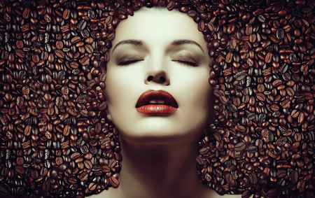 3d coffee beans, girl in the coffee beans