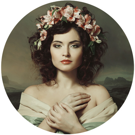 portrait of a beautiful girl in a wreath of orchids, Renaissance