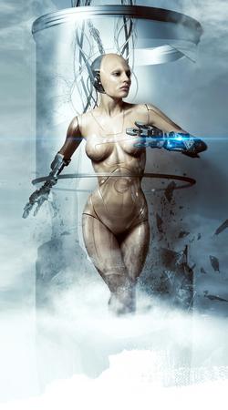 Hermosa mujer robot rompe matraz de vidrio, cyborg, láser