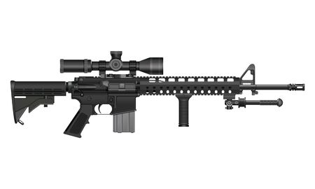 Modified AR-15 rifle with optical sight and bipod Vecteurs