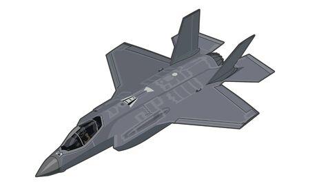 F-35 Lightning II military stealth fighter Vector Illustration