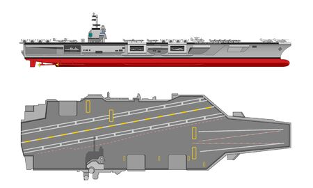 aircraft carrier, warhip, side and top view Vektorové ilustrace