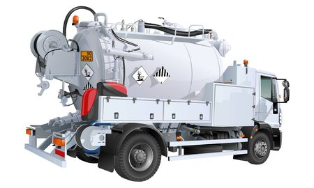 vacuum tank truck for cleaning stormwater and sewer networks 版權商用圖片 - 143537253