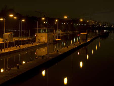 lift lock: Aldingen am Neckar at night Stock Photo