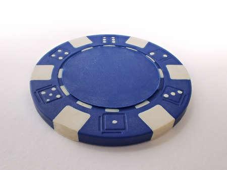 poker chip: Single Blue Poker Chip Stock Photo