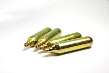co2: CO2 cartridges for pneumatic weapon Stock Photo