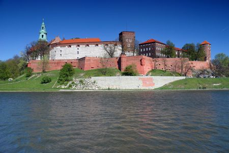 Wawel - Royal castle over the Vistula River in Krakow (Poland)