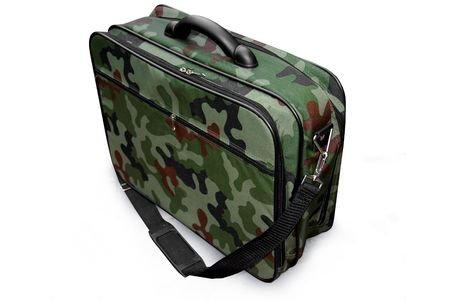 Camouflage (woodland) military suitcase for top secret documents - isolated