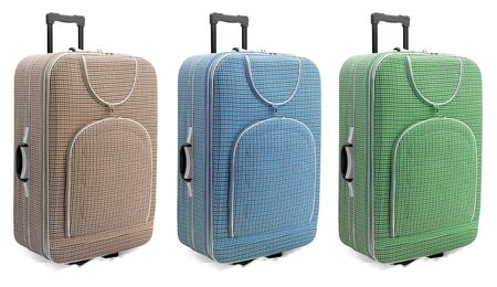 luggage pieces: Travel suitcases set - isolated