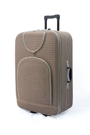piece of luggage: Beige travel suitcases (trolley) - isolated