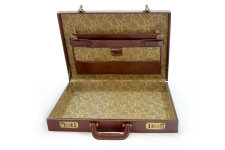 attache: Opened brown business suitcase - isolated
